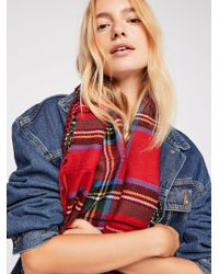 Free People - Red Bristol Plaid Fringe Cowl Scarf - Lyst