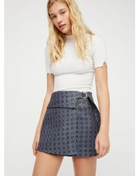 Free People - Blue All The Shine Mini Skirt - Lyst