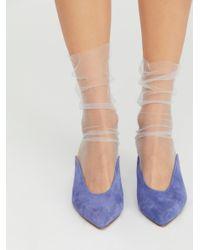 Free People - Gray Shoes Socks & Tights Ankle Socks Felix Sheer Crew Socks - Lyst
