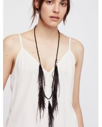 Free People - Black Dusting Feathers Collar - Lyst