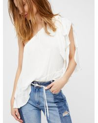Free People | White Around The World Top | Lyst