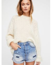 Free People - Blue High-rise Bandit Denim Shorts - Lyst