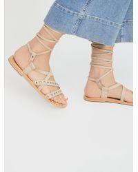 Free People Natural Steeler Stud Wrap Sandal