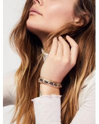 Free People | Metallic Blue Lagoon Stone Cuff | Lyst