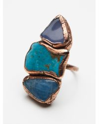 Free People | Blue Buried Treasure Triple Stone Ring | Lyst