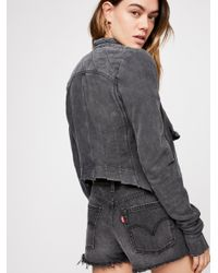 Free People - Black Shrunken Moto Cardi - Lyst