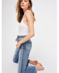 Free People Blue Lee Crop Kick Flare Jeans