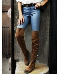 Free People | Brown Carlisle Suede Over-The-Knee Boots | Lyst