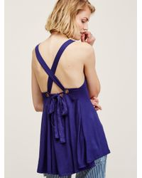 Free People - Blue Cross Out Tank - Lyst