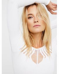 Free People | White Cut Out Neck Long Sleeve Top | Lyst