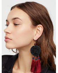 Free People - Black Winona Embellished Tassel Earrings - Lyst