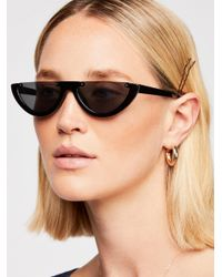 Free People - Black First Glance Half-frame Sunglasses - Lyst