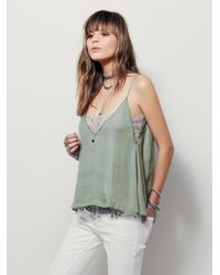 Free People | Green Deep V Bandeau Cami | Lyst