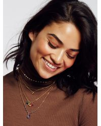 Free People | Metallic Delicate Quad Tiered Necklace | Lyst