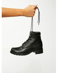 Free People | Black Deluge Lace-up Boot | Lyst