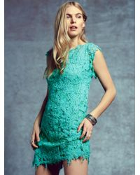 Free People | Green Destroyed Lace Shift | Lyst