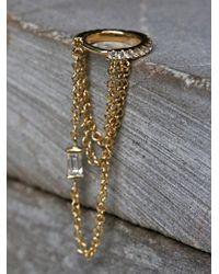 Free People | Metallic Diamond Eternity Baguette Chain Hoop | Lyst