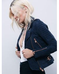 Free People | Blue Doma Suede Moto Jacket | Lyst