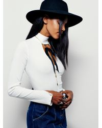 Free People | White Double Dot Turtle Neck | Lyst