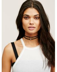 Free People | Black Double Leather Short Choker | Lyst