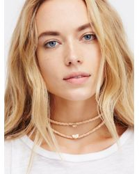 Free People | Metallic Double Leather Short Choker | Lyst