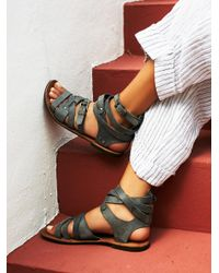 Free People | Gray Durango Metal Gladiator Sandals | Lyst