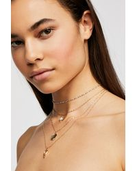 Free People - Blue Delicate Tiered Stone Necklace - Lyst