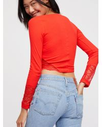Free People - Red Thinking Out Loud Crop - Lyst