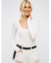 Free People - White Easy Peasy Tee Bodysuit - Lyst