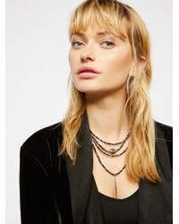 Free People - Brown Delicate Tiered Stone Necklace - Lyst
