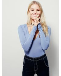 Free People - Blue Seamless Solid Deep V - Lyst