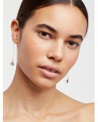 Free People - Brown Teardrop Threader Earrings - Lyst