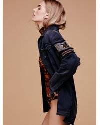 Free People | Black Embellished Military Shirt Jacket | Lyst