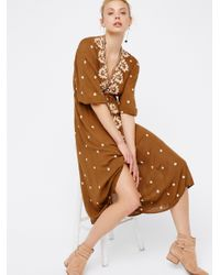 Free People | Brown Embroidered Fable Dress | Lyst
