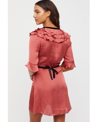 Free People Red Aileen Ruffled Robe By For Love & Lemons