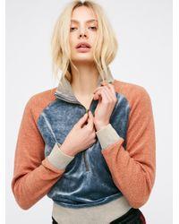 Free People | Blue Feelin' Velour Half Zip Pullover | Lyst