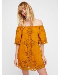 Free People Orange Battenburg Off-the-shoulder Mini Dress