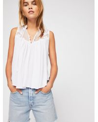 c61f8204bc409 Lyst - Free People Western Romance Top in White