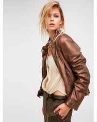 Free People | Multicolor Fitted And Rugged Leather Jacket | Lyst