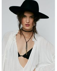 Free People | Black Flawed Leather Wrap Bolo | Lyst