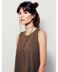 Free People | Brown Flawed Leather Wrap Bolo | Lyst