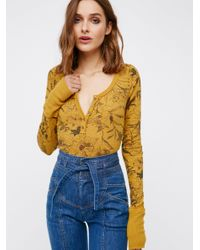 Free People | Yellow Floral Davis Thermal | Lyst