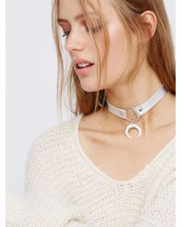 Free People | Brown Foiled Horn Leather Choker | Lyst