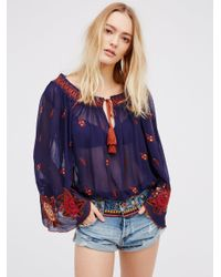 Free People | Blue Folk Forest Top | Lyst