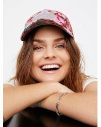 Free People   Brown Full Bloom Printed Baseball Hat   Lyst