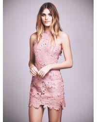 Free People | Pink Jessa Foil Lace Dress | Lyst