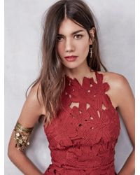 Free People - Red Jessa Cut-Out Lace Dress - Lyst