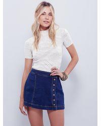 Free People - Blue Keep On Rocking Asymmetrical Skirt - Lyst