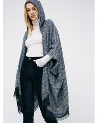 Free People | Blue Knubby Hooded Kimono | Lyst