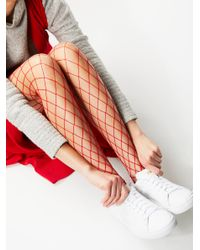 Free People | Red La Maison Fishnet Tight | Lyst